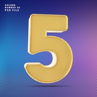 Golden number 5 3d render luxo