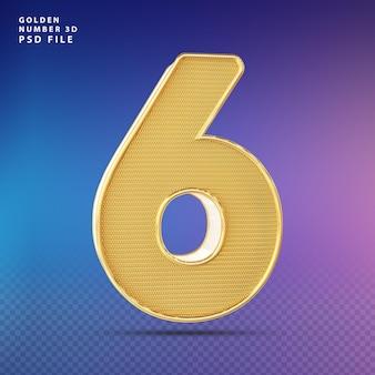 Golden number 6 3d render luxo