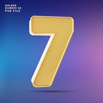 Golden number 7 3d render luxo