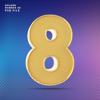 Golden number 8 3d render luxo