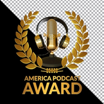 Golden podcast award 3d render composition isolated