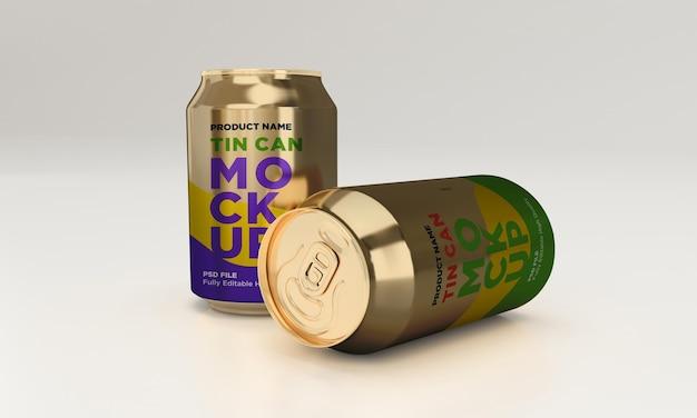 Golden soda can drink beverage psd mockup