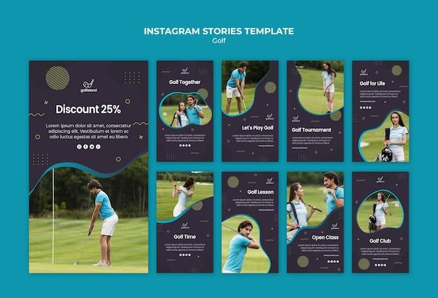 Golfe praticando histórias do instagram