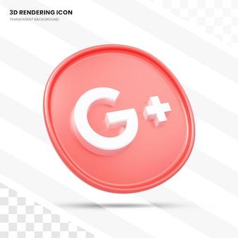 Google plus ícone de renderização em 3d