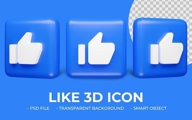 Gosto ou polegar para cima renderização 3d isolada do ícone