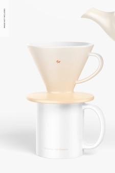 Gotejadores de café com maquete de caneca
