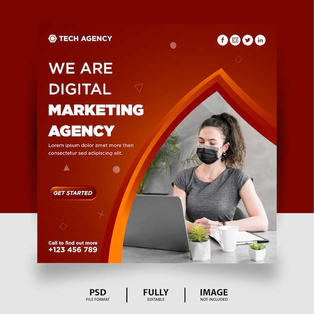 Gradiente vermelho escuro marketing digital mídia social pós banner do instagram