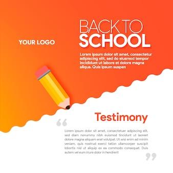 Gradiente vermelho mídia social banner voltar para scholl com lápis