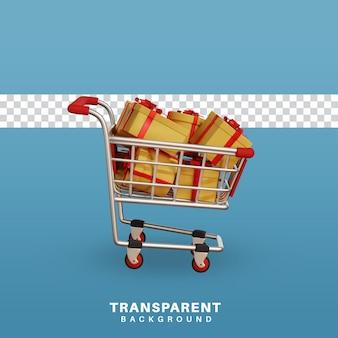 Gráfico de compras 3d render completo com caixa de presente de natal