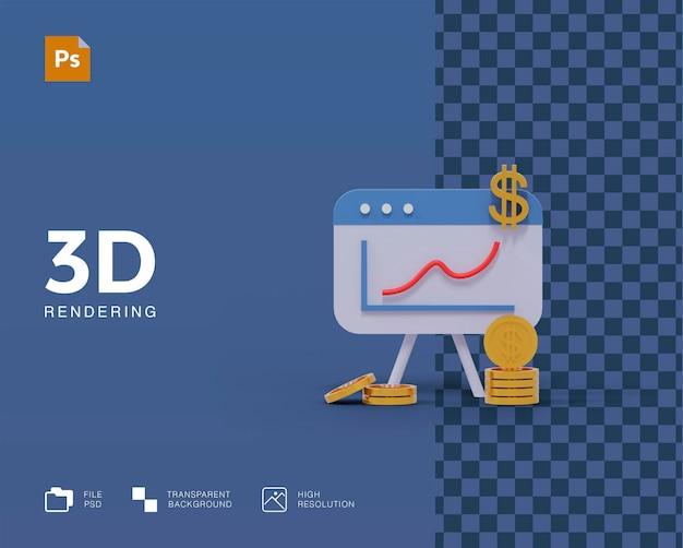 Gráfico de ilustração 3d com moedas Psd Premium