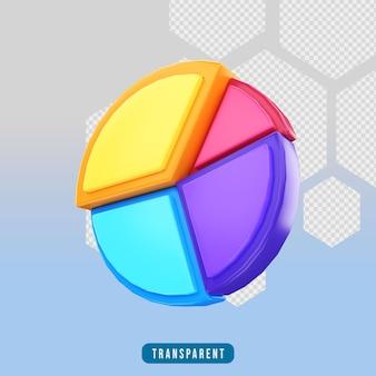 Gráfico de pizza de ícone de renderização 3d