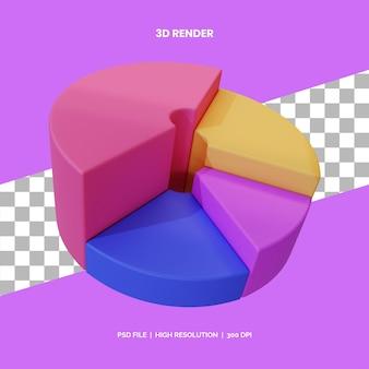 Gráfico de pizza de renderização de ícone 3d para apresentação