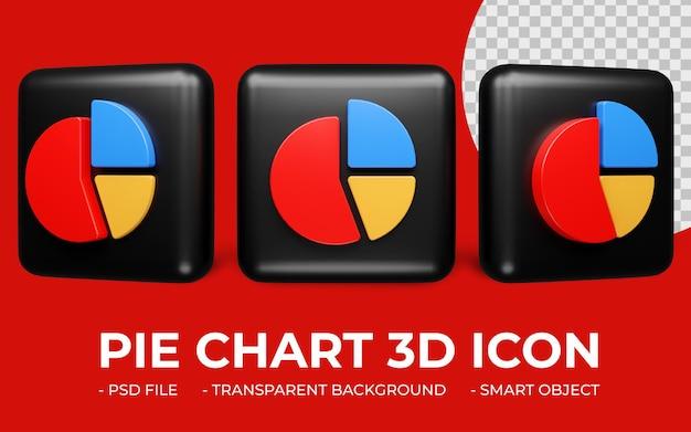 Gráfico de pizza ou ícone de estatísticas renderização 3d isolada Psd Premium