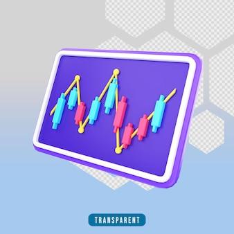 Gráfico de velas de ícones de renderização 3d