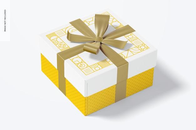 Grande caixa de presente com fita maquete