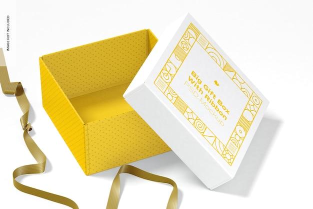 Grande caixa de presente com modelo de fita, aberta