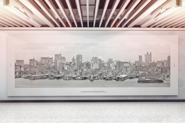 Grande campo de anúncios na maquete da parede da exposição