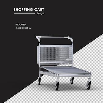 Grande carrinho de compras de metal isolado do ângulo de visão frontal direito