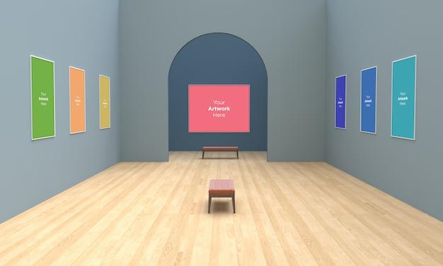 Grande galeria de arte frames muckup ilustração 3d e renderização 3d com arco