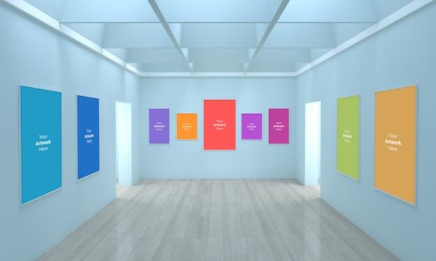 Grande galeria de arte frames muckup ilustração 3d e renderização 3d