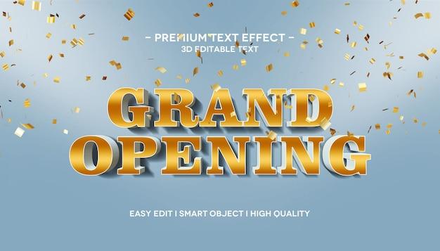 Grande inauguração efeito de texto 3d