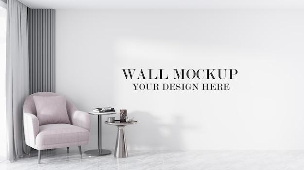 Grande maquete de parede em cena de renderização 3d