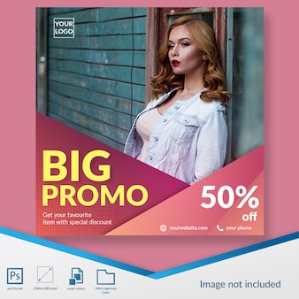 Grande promo moda venda social media post banner template