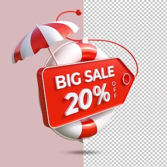 Grande promoção de verão 20 por cento oferecem renderização em 3d