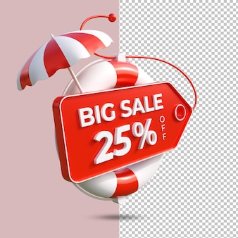 Grande promoção de verão 25 por cento oferecem renderização em 3d