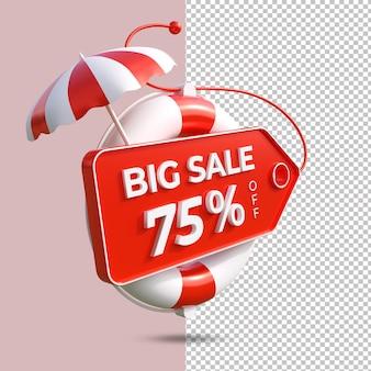 Grande promoção de verão 75% oferecem renderização em 3d