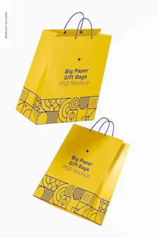Grande sacola de papel para presente com maquete de alça de corda