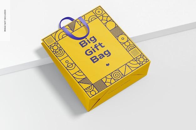 Grande sacola para presente com maquete de alça de fita vista superior