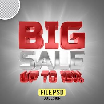 Grande venda 15 banner de renderização em 3d