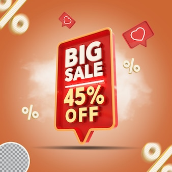 Grande venda 3d - 45 por cento da oferta de renderização criativa