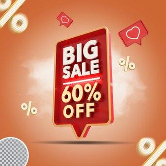 Grande venda 3d - 60 por cento da oferta de renderização criativa