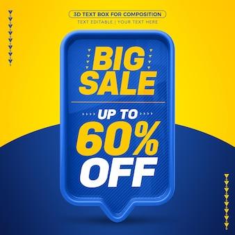 Grande venda de caixa de texto 3d azul com até 60% de desconto