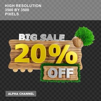 Grande venda de renderização em 3d com 20% de desconto no texto