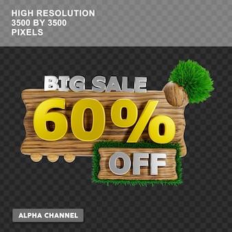 Grande venda de renderização em 3d com 60% de desconto no texto