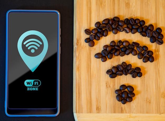 Grãos de café recriando o sinal wi-fi
