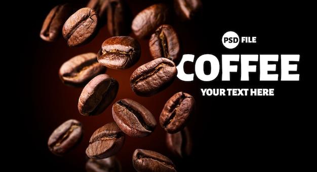 Grãos de café torrados caindo no fundo preto