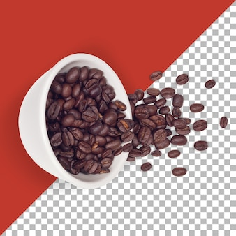 Grãos de café torrados quebrados em uma tigela branca isolada