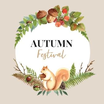 Grinalda com cartão de tema outono