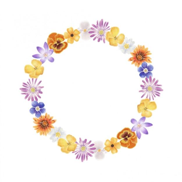 Grinalda de flores em aquarela de primavera
