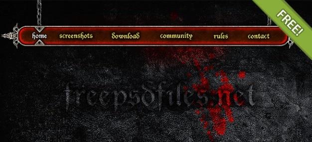 Grunge / gothic menu de navegação