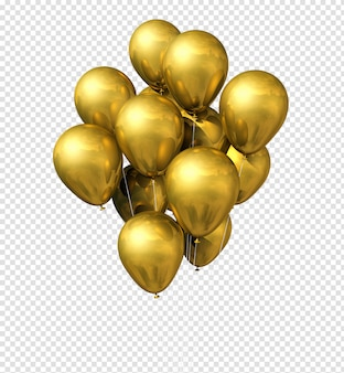 Grupo de balões de ouro isolado no branco