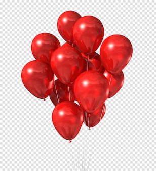 Grupo de balões vermelhos isolado no branco