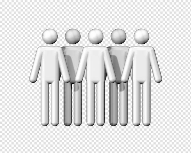 Grupo tridimensional de bonequinhos como símbolo de comunicação isolado