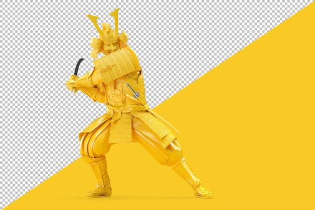 Guerreiro samurai balança com renderização de espada katana Psd Premium