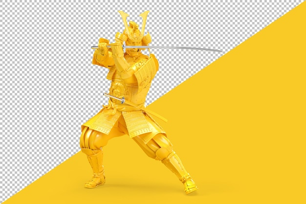 Guerreiro samurai com espada katana em representação de postura defensiva Psd Premium