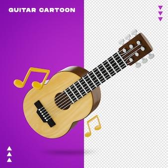 Guitarra acústica de desenho animado em renderização 3d
